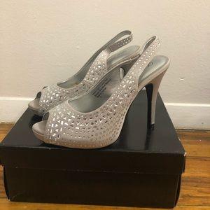 Sparkly sling back peep-toe heels